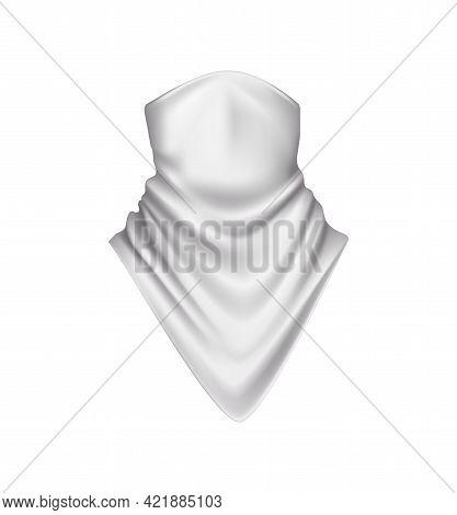 White Silk Bandana For Neck Realistic Icon On White Background Vector Illustration