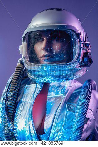 Spacewoman In Helmet With Open Costume In Starlight