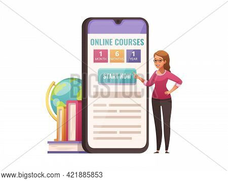 Online Educational Courses Icon With Smartphone App And Cartoon Character Of Teacher Vector Illustra