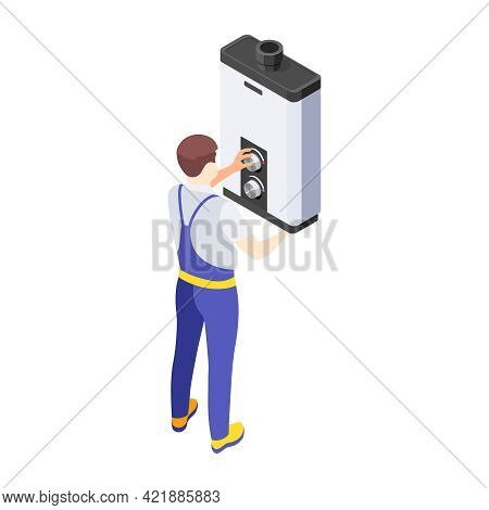 Isometric Repairman Fixing Or Installing Water Heater On White Background 3d Vector Illustration