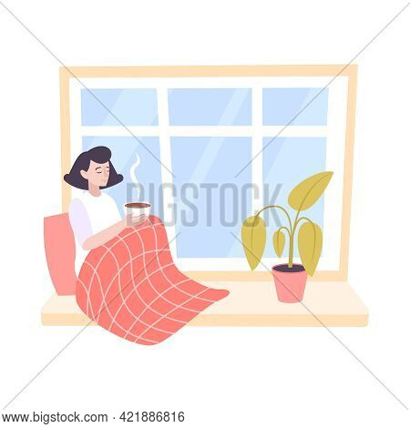 Woman Sitting On Windowsill With Cup Of Hot Tea Flat Icon Vector Illustration