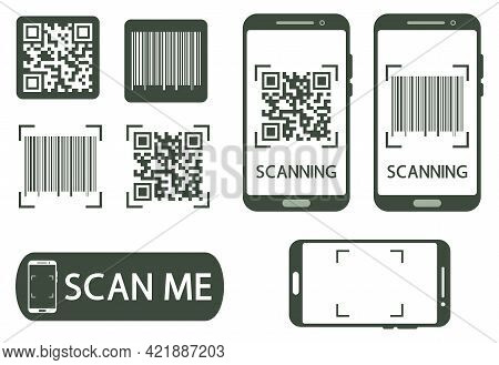 Qr Code Verification Concept. Machine-readable Barcode On Smartphone Screen. The Process Of Scanning