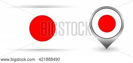 Vector Flag Japan. Location Point With Flag Japan Inside