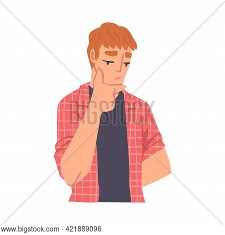 Thinking Boy, Portrait Of Thoughtful Male Person With Pensive Face Expression Cartoon Vector Illustr