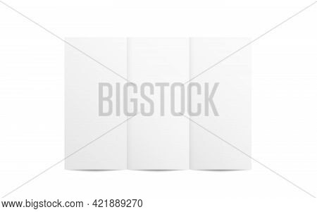 Leaflet Mockup. Folded Booklet On White Background. Trifold Paper With Soft Shadow. Realistic Brochu
