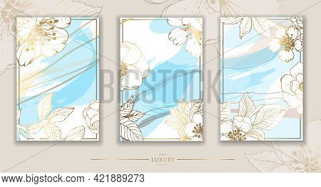 Gold Frame. Set Of Gilded Leaves And Cherry Branches. Contemporary Dotted Design. Vector Illustratio