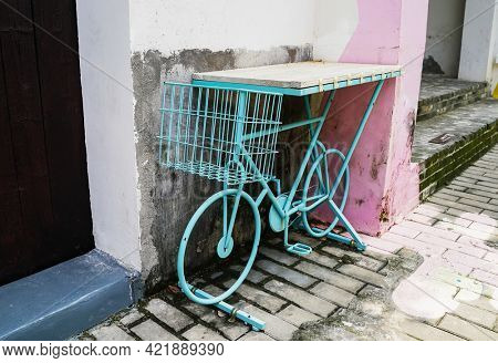 bicycle made of metal for wooden table