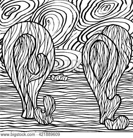 Doodle Alien Fantasy Landscape Coloring Page For Adults. Fantastic Psychedelic Graphic Artwork. Vect