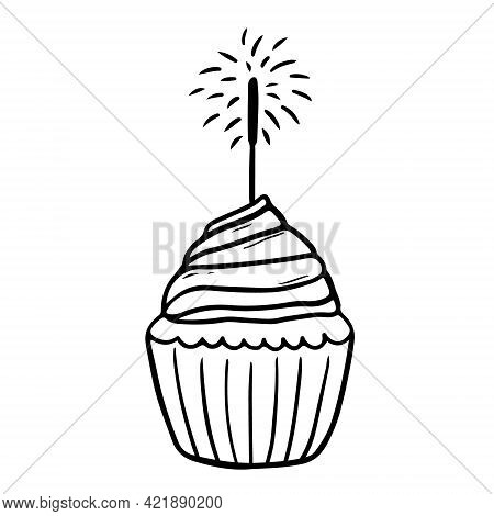 Festive Cupcake With Sparkler Isolated On White Background. Vector Hand-drawn Illustration In Doodle