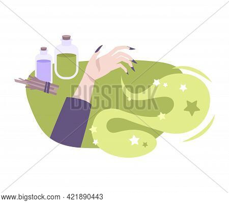 Witchcraft Flat Composition With Witch Hand Potion Flasks Vector Illustration