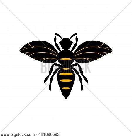 Cartoon Bee Mascot. A Small Bees Flies. Wasp Collection. Vector Characters. Incest Icon. Template De