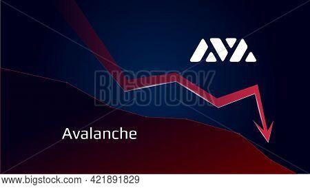 Avalanche Avax In Downtrend And Price Falls Down. Cryptocurrency Coin Symbol And Red Down Arrow. Uni