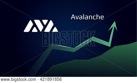 Avalanche Avax In Uptrend And Price Is Rising. Cryptocurrency Coin Symbol And Green Up Arrow. Uniswa
