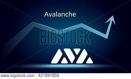 Avalanche Avax In Uptrend And Price Is Rising. Cryptocurrency Coin Symbol And Up Arrow. Uniswap Flie