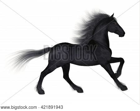 Friesian Horse 3d Illustration - The Friesian Is A Distinctive Breed Of Black Horse Developed In Net