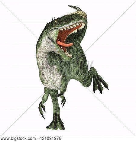 Monolophosaurus Dinosaur Roaring 3d Illustration - Monolophosaurus Was A Carnivorous Theropod Dinosa