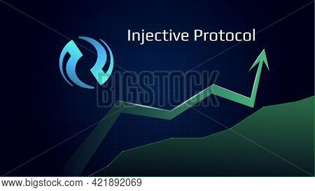 Injective Protocol Inj In Uptrend And Price Is Rising. Cryptocurrency Coin Symbol And Green Up Arrow