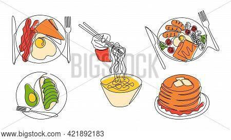 Continuous Line Breakfast. One Line Morning Food, Avocado Sandwich, English Breakfast And Fried Eggs