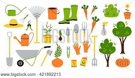 Garden Tools. Cartoon Instruments And Supplies For Soil Work, Shovel Gloves Rake Pruner Seeds And Pl