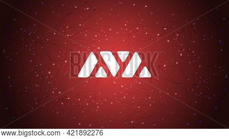 Avalanche Avax Token Symbol Of The Defi Project Cryptocurrency Theme On Red Polygonal Background. Cr