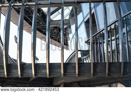 Stylish Shiny Large Metal Balcony Balustrade With Railing And Decorative Elements On Contemporary Of