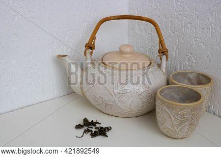 Vintage Or Retro Style Ceramic Teapot, Japanese Style Teapot, Isolated On White Background