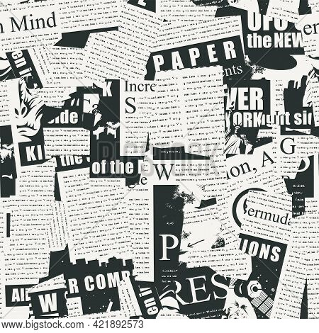 Abstract Seamless Pattern With A Collage Of Newspaper Clippings. Black And White Background With Unr