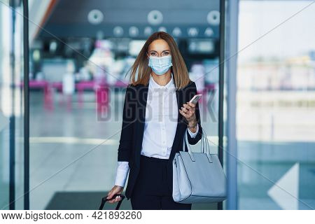 Adult female passenger at the airport