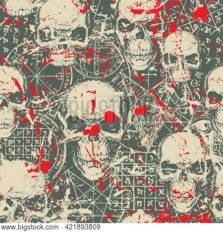 Abstract Seamless Pattern With Hand-drawn Human Skulls, Goat Head, Blood Stains, Occult And Ritual S