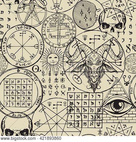 Abstract Seamless Pattern With Hand-drawn Goat Head, All-seeing Eye, Human Skulls, Vitruvian Man, Ma