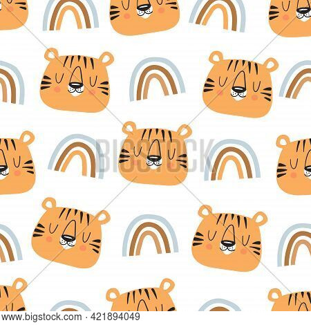 Cute Tiger Vector Illustration. Hand Drawn Cute Print For Posters, Cards, T-shirts. Seamless Pattern