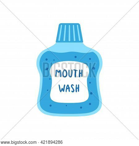 Dental Rinse Icon, Vector Cartoon Illustration Of Mouthwash Isolated On White Background, Dental Con