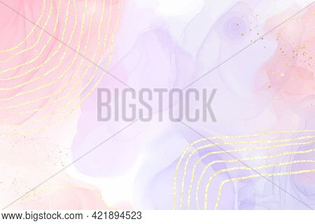 Abstract Two Colored Pink And Violet Liquid Marble Background With Gold Stripes And Glitter Dust. Pa
