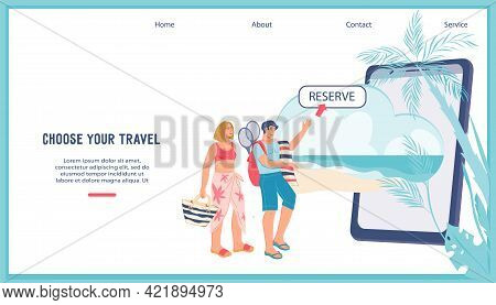Travel Airline Ticket Booking, Hotel Resort Concept Web Banner. People Arrange Their Travels And Sum