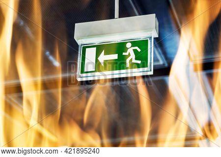 Fire Escape. Emergency Evacuation Exit Door Sign