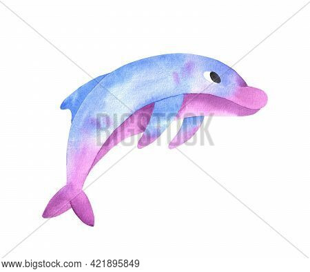 Dolphin Watercolor Illustration. Blue With Pink Dolphin Isolated On White Background. Ocean Day.