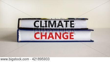 Climate Change Symbol. Books With Words 'climate Change' On Beautiful Canvas Background. Business, E