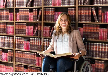 Attorney Lawyer In Courtroom Working With Legal Books