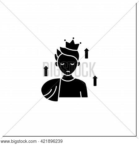 Grandeur Delusions Glyph Icon. Identifying Yourself As Another Person, Famous Or Important Figure.un