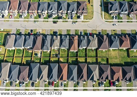 An Aerial Looking Down On A New Subdivision