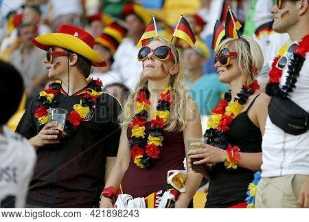 Lviv, Ukraine - June 17, 2012: German Football Fans Show Their Support During The Uefa Euro 2012 Gam