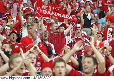 Lviv, Ukraine - June 17, 2012: Danish Football Supporters (ultras) Show Their Support During The Uef