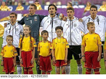 Lviv, Ukraine - June 17, 2012: German Players Listen To The National Anthem Before The Uefa Euro 201