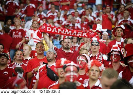 Lviv, Ukraine - June 17, 2012: Danish Football Supporters Show Their Support During The Uefa Euro 20