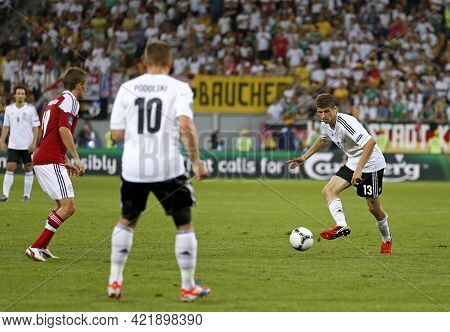 Lviv, Ukraine - June 17, 2012: Thomas Muller Of Germany (r) Controls A Ball During The Uefa Euro 201
