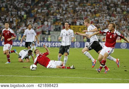 Lviv, Ukraine - June 17, 2012: Germany (in White) And Danish Players Fight For A Ball During Their U