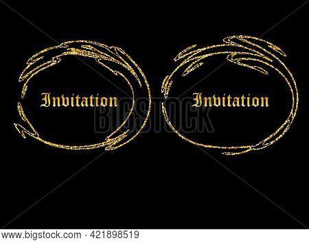 Gold Vintage Labels - Set Of Two Vintage Style Labels With Gold Scroll Frames And Damask Details. Da
