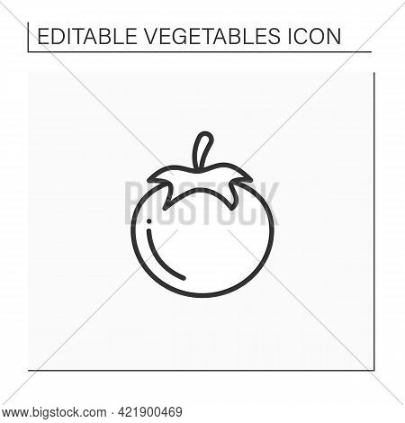 Tomato Line Icon. Edible Vegetable. Consumed In Diverse Ways, Raw Or Cooked, In Many Dishes, Sauces,