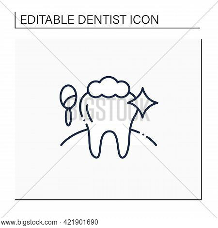 Cosmetic Dentistry Procedures Line Icon. Therapy Improves A Patient Smile And Self-confidence.teeth