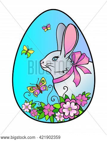 Easter Egg On Which A Rabbit, Flowers And Butterflies Are Drawn - Vector Full-color Illustration. Ea